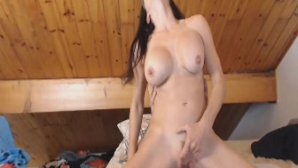 Brunette Babe Gets Pussy Fuck While Using Vibrator