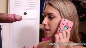 Teen Kimber Lee Gives Quick BJ Before Friends Arrive!