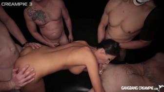 Brunette Hottie gets smashed by 5 cocksmen