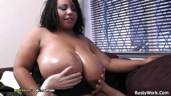Fucking mega-titted ebony plumper from behind