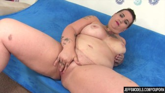 Chubby mom with a big red vibrator