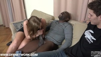 His Girlfriend Beautiful Blue Eyes Fucked by Monster Cock Black Anal Fuck