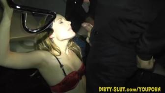 Naughty Nicole eats cum from plenty of men