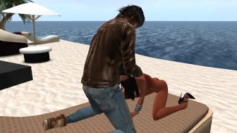 Virtuelsexe - Fred Adjani baise la jolie Brigitt sexy dans le monde virtuel