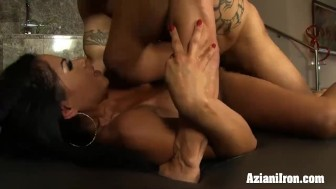 Tan lined Fitness model rides guys face then gets fucked