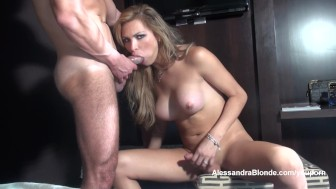Alessandra Blonde sucks big cock