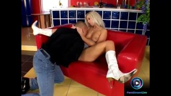 Angel Blonde sits on a massive dong