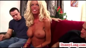 Donny Long snaps big fake titty skinny milf anf gives her sneaky half creampie