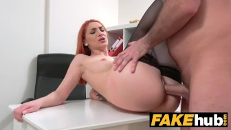 Fake Agent Horny Redhead prefers hard cock over wet pussy