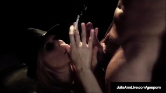 MILF Star, Julia Ann Gives A Smokin BJ & Fucks Guy On Stage!