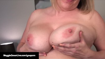 Busty Maggie Green Sets Dildo On High & Has Intense Orgasm!
