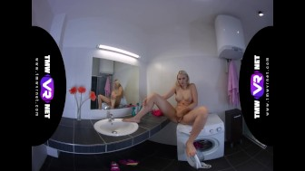 TmwVRnet.com - Katy Sky - Blonde orgasms on bathroom sink