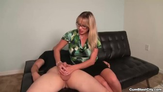 Hot blonde lady handjob
