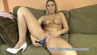 Horny hottie Stevie Rae uses a toy on her tight twat