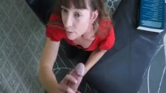 A horny milf jacks off a young man