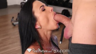 PureMature After gym workout anal fuck with mature Shalina Devine