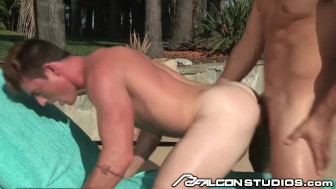 Brent Corrigan takes Topher's Cock Poolside