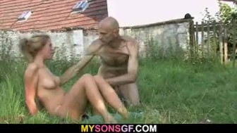 Old man eats his son's GF pussy outdoor
