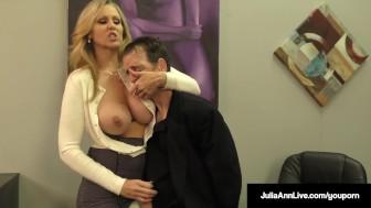 busty blonde milf julia ann milks jizz from rock hard dick!