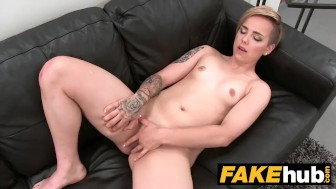 fake agent short haired tattoo babe penetrated hard in the office