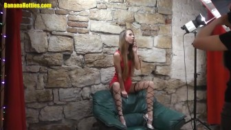 Skinny blonde wears just stockings