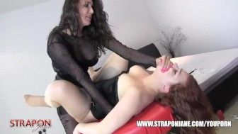 Strapon Jane spanks and waxes milf sluts pussy while she toys then face fucks and hard missionary sex