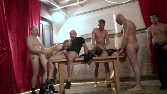 German Amateur Basement Gangbang