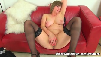 UK milf April's finger can barely enter her tight pussy