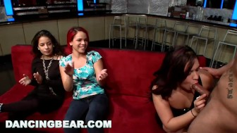 dancing bear – cfnm whores blowing male stripper cock at the club (db11453)