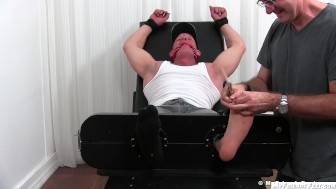 Big muscular redneck Dev gets armpits and feet tickled