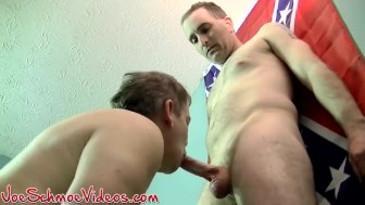 Two horny Joes get straight to schong sucking action