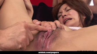 Spreading her pussy and the dudes go nuts on her cunt
