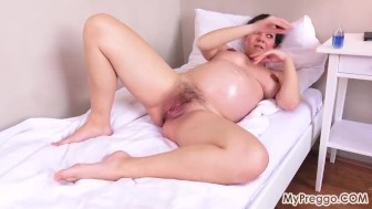Pregnant Corazon Oiled Up and Masturbating!