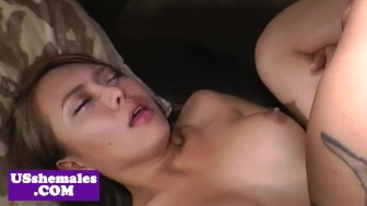 Asian lingerie trap strips then gets plowed
