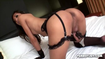 Uncut Thai Ladyboy In Stockings