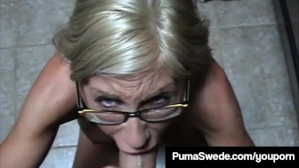 Euro Porn Star Puma Swede Gets Milky Glasses After Blow Job!