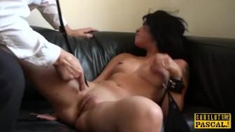 British squirting slut gaggs on maledom cock
