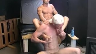 Deviant butt pirate Derik licks Chets feet with pleasure