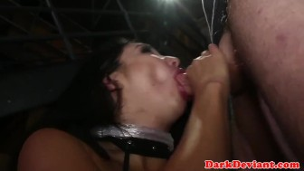 Busty saran wrapped sub throats maledom cock