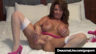 Busty milf deauxma uses 4 inch backdoor plug & dildo to squirt!